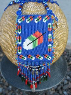 Native American beaded Pastel Feather Amulet Bag on Etsy, $150.00