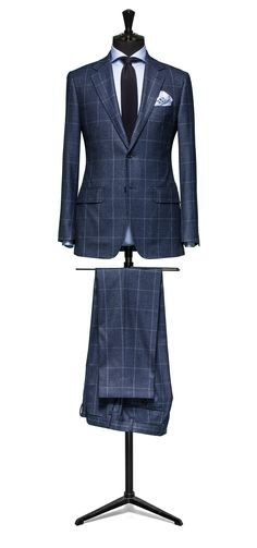Blue suit Glencheck blue windowpane S120 http://www.tailormadelondon.com/shop/tailored-suit-fabric-4339-check-blue/