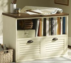 Whitney Lateral File with Shelf - Almond White #potterybarn
