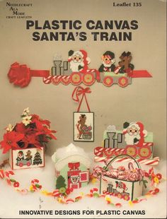 Santa's Train in Plastic Canvas Vintage Craft Book 1990