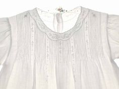 """Heirloom 1930s Beautifully Embroidered White Batiste Baby Dress with Pintucks.  Shoulder width=8¼""""  Back length=14½"""""""