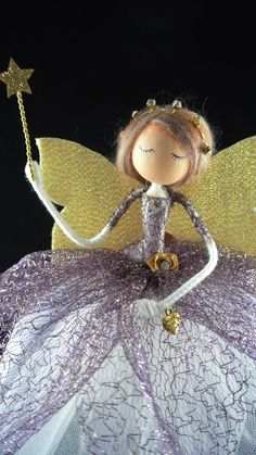 Handmade Christmas, Christmas Crafts, Christmas Ornaments, Xmas, Fairy Tree, Beautiful Fairies, Gold Ribbons, Fairy Dolls, Christmas Tree Toppers