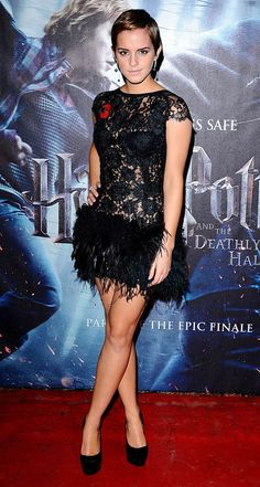 How 'bout Emma Watson in this feather skirt? This one is fun and flirty.   Anyone else think she looks like she could be Ryan Reynolds' sis in this pic?