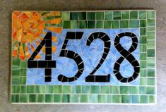 You are purchasing a handmade piecesofgrace mosaic glass address plaque. Each plaque is custom made to your specifications and requires 4 to 8 House Address Sign, Address Plaque, Mosaic Patio Table, Create Your House, Mosaic Artwork, Mosaic Pieces, Mosaic Projects, Mosaic Ideas, Mosaic Garden