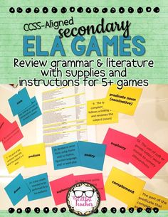 Gamify your ELA instruction, make pre-testing fun, break up the monotony of test prep, fill in extra time at the end of class, and more with this language arts games pack! Middle School Ela, Middle School English, High School, Learn French, Learn English, Teaching English, Ela Games, Grammar Games, Literacy Games