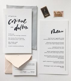 minimal invitation suite with gorgeous hand-lettering inspiration   @Cassie Dulworth   Reux Design Co.