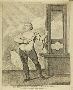 """The Martyrdom of King Louis XVI by Isaac Cruikshank.  Louis addresses Heaven, proclaiming, """"Forgive my enemies.  I die innocent!""""  Images of Louis XVI and Marie Antoinette produced during the Bourbon Restoration were highly romanticized, often portray the tragic king and queen as martyrs."""