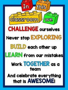 "FREEBIE Lego Themed ""In This Classroom"" Motivational Poster - Pre k 5 classroom theme ideas - Lego Lego Classroom Theme, Construction Theme Classroom, 2nd Grade Classroom, Classroom Rules, Classroom Behavior, Preschool Classroom, Classroom Activities, Construction Bulletin Boards, Kindergarten"