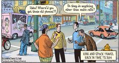 Kirk and Spock travel back in time to 2014