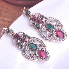 Emerald Green Resin Vintage Earrings Bijoux Turkish Flower Drop Earring Max Brincos Grandes Metal Alloy Antiuqe Ear Accessories – jewelryabo.com