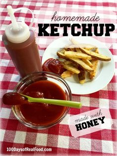By making your own homemade ketchup in the slow cooker you can control how much salt to add and skip the processed sugar altogether by using honey as the sweetener.
