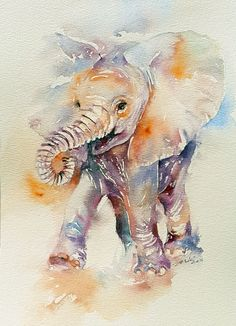 Another cute baby elephant who seems quite happy! She has been painted in very soft shades of purple, yellow and blue; using wet-in-wet technique.The painting is impressionistic, with many lost and...