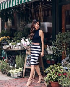 Pin for Later: 14 Breezy Summer Outfit Ideas That Start With a Skirt Striped Pencil Skirt with a Knit Top