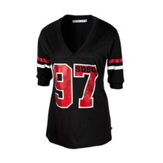 Football V-Neck Tee Women s football v-neck t-shirt featuring striped  sleeves and a distressed screen print of the number 97 with SDSU in the  number seven. 5f60e57ec