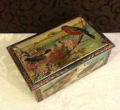 Gorgeous Vintage Pette Cocoa Tin Box Birds Nest Antique Dutch Trinket Box   eBay