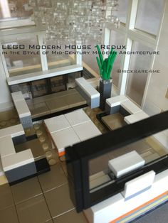 "LEGO Modern House - Redux - in the Style of Mid-Century Modern Architecture by Bricksare4me - as seen at BrickCan 2016 in Vancouver BC - awarded ""Best Edifice"" - living room"