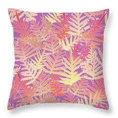 A tangle of Hawaiian laua'e ferns in multiple colors on a PANTONE (r) Bodacious background. Also available as fabric--contact the artist.