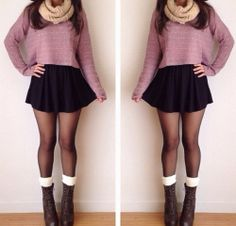 Trendy Skirt Outfits For Teens Schools Tights Ideas Cute Fall Outfits, Fall Winter Outfits, Autumn Winter Fashion, Cool Outfits, Casual Outfits, Teen Outfits, Autumn Casual, Christmas Outfits, Winter Outfits With Skirts