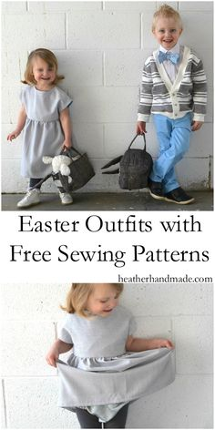 I love sewing cute Easter outfits for my kids! I look forward to it every year. I don't love spending money on multiple patterns so I created 6 pieces for my kids using only FREE SEWING PATTERNS! I love coordinating their outfits, and they look so good together! Children's Easter Outfits from Free Sewing Patterns // heatherhandmade.com