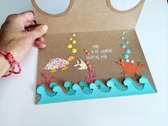DIY tarjeta de cumpleaños bajo el mar - DIY birthday summer card