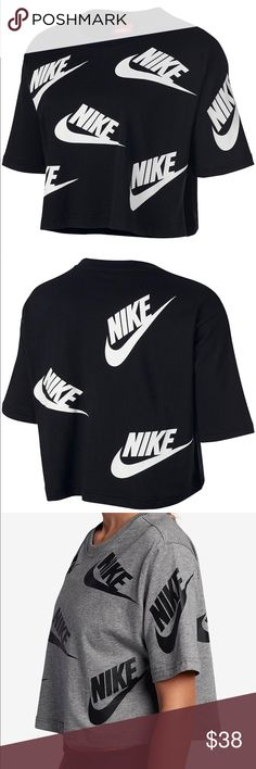 Black and white nike cropped top Brand new with tags Authentic Please know your sizing in Nike products before purchasing 100% cotton Short sleeves Widened crew neck line Relaxed shoulder seams Hits above hip Relaxed fitted Matching leggings available on a separate listing  Stunning outfit throw a white long sleeve top underneath and your strutting your stuff! Nike Tops Tees - Short Sleeve