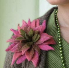 Pink to Olive Cactus Bloom  Felt Flower Brooch  Hand by vaivanat