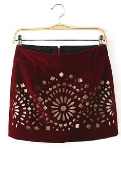 Red Flowers Hollow-out Mid Waist Corduroy Skirt
