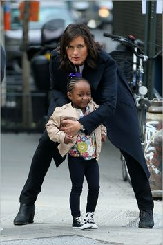 Actress Mariska Hargitay plays supermom with her adorable adopted daughter Amaya Hermann on the set of 'Law & Order: SVU' on Monday, March 16, 2015, in Chelsea, New York City.