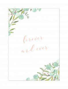 """Wenskaartje """"Forever and ever"""" - Botanical kaartje voor een huwelijk, grote liefde of eeuwig durende vriendschap! - Koop hier leuke en originele wenskaarten ontworpen door Yellow Sky. #mint #botanical #forever"""