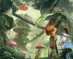 Nick and Judy in the Rainforest District