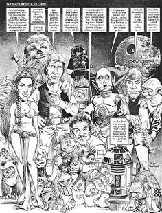 This is my recreation of the Star Wars splash page, from Mad magazine by the legendary Mort Drucker.Brush, india ink, and grey wash on MORT DRUCKER Mad Star Wars recreation Best Comic Books, Comic Books Art, Comic Art, Book Art, Star Wars Comics, Star Wars Art, Star Trek, Anton, Sergio Aragonés