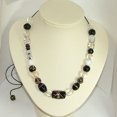 Black and white adjustable cord necklace with Indian glass beads - pinned by pin4etsy.com