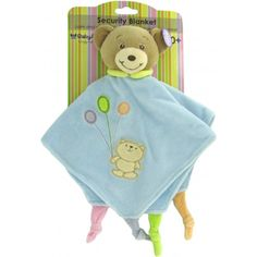 Baby Bow Teddy Bear Rattle Blanket in Blue by Russ