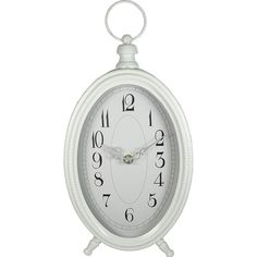 Oval Retro Large Decorative Vintage Style Desk Clock White ($34) ❤ liked on Polyvore featuring home, home decor, white home accessories and white home decor
