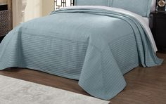 French Tile Twin Bedspread in Blue