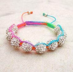 Friendship+bracelet+rainbow+neon+bracelet+disco+ball+by+pieceofART,+$31.00