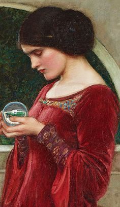 """The Crystal Ball"" (detail) - 1902, John W. Waterhouse (1849-1917)."