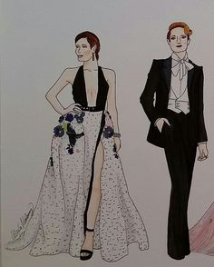 Golden Globes 2017 Fashion Illustration: Jessica Biel in Elie Saab and Evan Rachel Wood in Altuzarra done with Copic Markers by Alexa's Illustrations   alexasillustrations