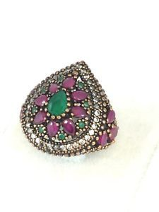 Ottoman!! Turkish Handmade Emerald Ruby Topaz  Sterling Silver Hurrem Ring Size7  | eBay