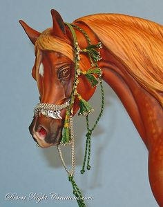 "Miniature (1/8th scale) hand made Native Arabian Horse Halter with real silver ""sharks teeth"""