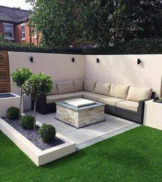 Backyard Seating, Small Backyard Landscaping, Backyard Garden Design, Garden Seating, Backyard Patio, Flagstone Patio, Concrete Patio, Patio Design, Patio Table