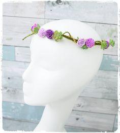 Moss Vine, Mini Ranunculus and Purple Lilac Violet Mini Roses - Wedding Bridal Hair Wreath - Green -