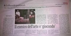 """Articolo di Italo Interesse sul Quotidiano di Bari di mercoledì 22/10/2014 su """"Giocondo"""", primo spettacolo in abbonamento della Rassegna #Bravóff"""