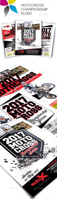 Motocross Championship Flyers by inddesigner A4 210x297mm US Letter 8.5x11in Bleed 5 mm Adobe Photoshop CS6 300dpi CMYK BigNoodleTitling: www.dafont.com/bignoodle-titlin