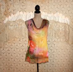 Sleeveless Chiffon Blouse Drape Neck Dressy Top by MagpieandOtis