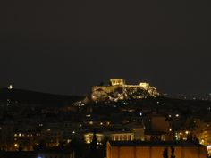 Acropolis, Athens - by night from the Hilton Galaxy Bar Athens By Night, Athens Acropolis, Seattle Skyline, Greece, Around The Worlds, Spaces, Bar, Travel, Viajes