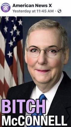 """""""Bitch"""", that's what I call him. He certainly has proven that he is Trump's Bitch, hasn't he? Political Views, Political Memes, Mitch Mcconnell, Twisted Humor, Republican Party, Adult Humor, Donald Trump, Funny Pictures, Hilarious"""