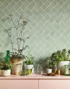 Pinks and greens at Fired Earth. Seagreen wall tiles with pale pink shelving. Green Tile Backsplash, Kitchen Wall Tiles, Green Bathroom Tiles, Green Kitchen Walls, Green Tiles, Kitchen Backsplash, Interior Exterior, Interior Design, Houses Architecture