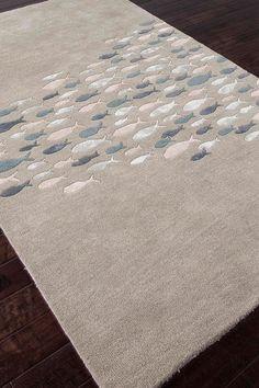 Transitional Coastal Pattern Wool Blend Tufted Rug - Sea Blue