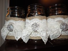 My future mother-in-law helped me come up with these. 60 Wedding Anniversary, Anniversary Parties, Wedding Reception Table Decorations, Rustic Wedding, Wedding Ideas, Barn Weddings, Bottles And Jars, Mason Jar Diy, Baby Showers